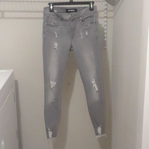 Express Gray Distressed Ankle JeanLegging